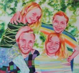 Kids, 125 x 130 cm, Acryl und Öl auf Baumwolle, Mariahilf 2017/18