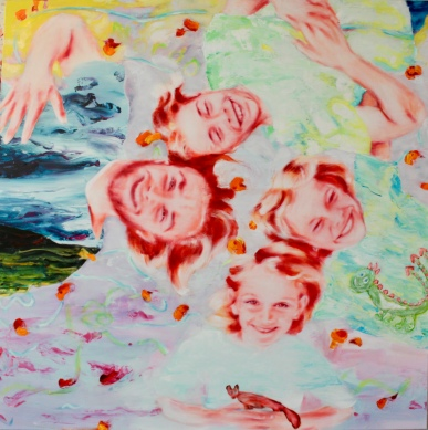 'as dingselet u ringselet' 160 x 160 cm, Acryl und Öl auf Baumwolle, Mariahilf 2017